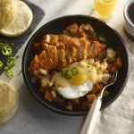 southern chicken bowl with enchilada sauce
