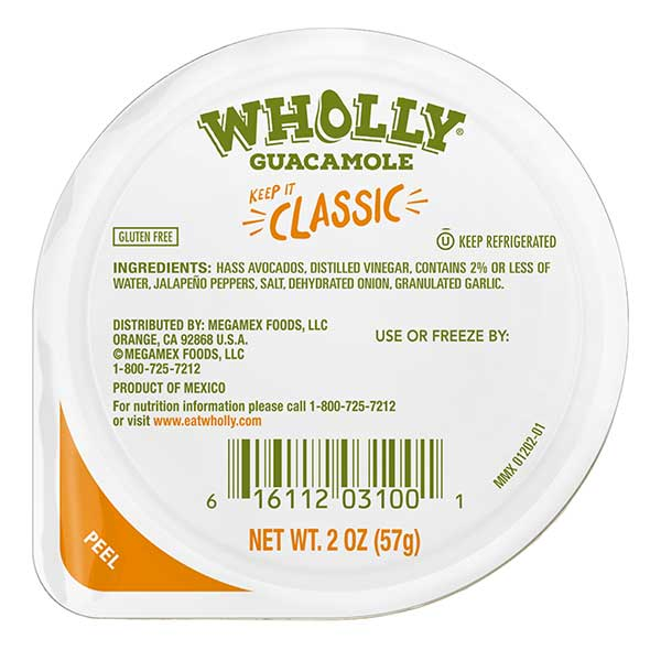 Wholly Guacamole classic snack pack
