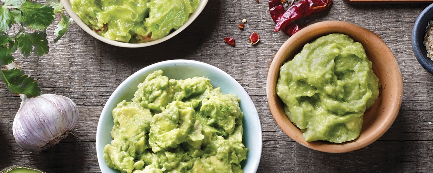 Overhead of guacamole in bowls