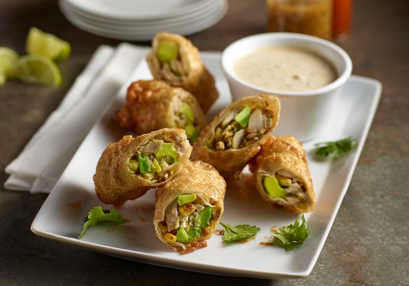 Avocado and Smoked Chicken Eggrolls on plate