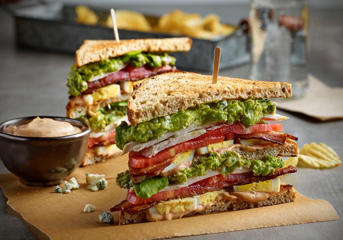 The cobb club sandwich cut in triangles