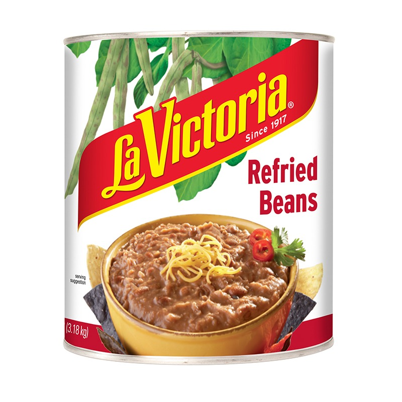 La Victoria Refried Beans in can