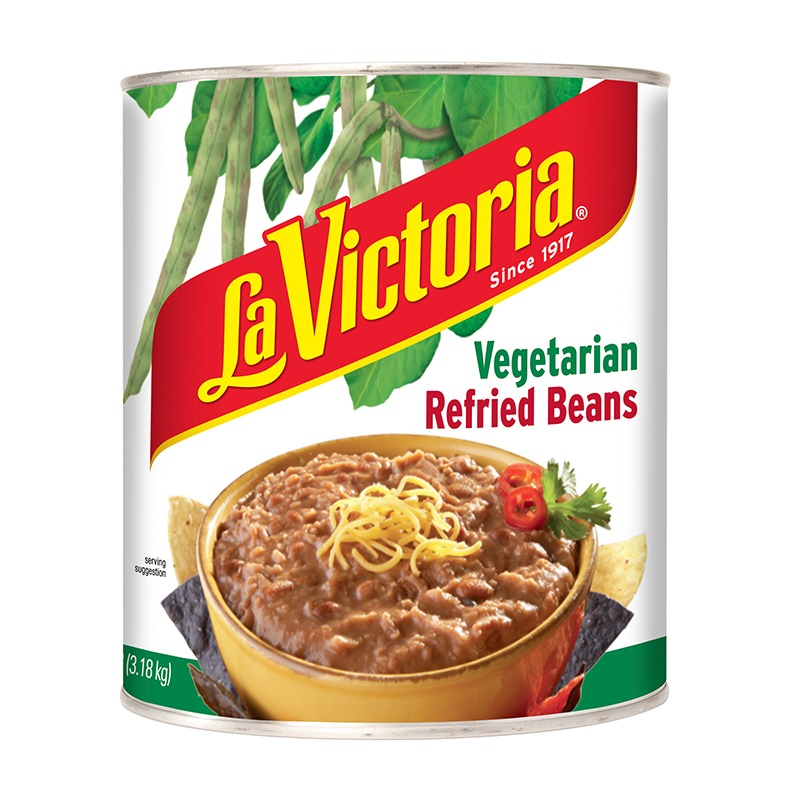 La Victoria Vegetarian Refried Beans in can
