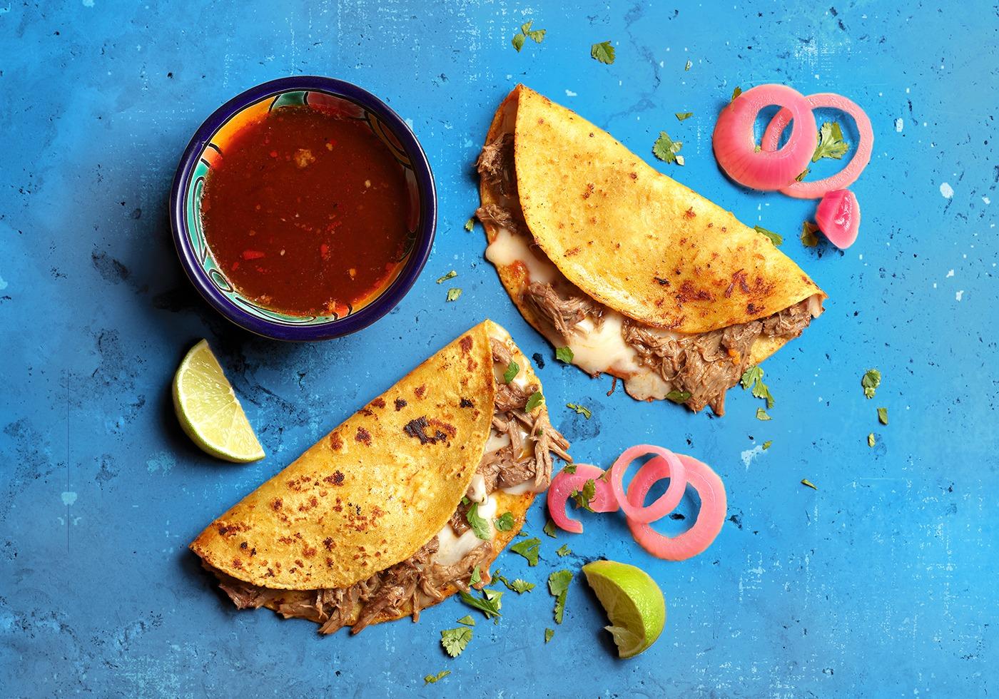 Overhead Beef Birria Taco