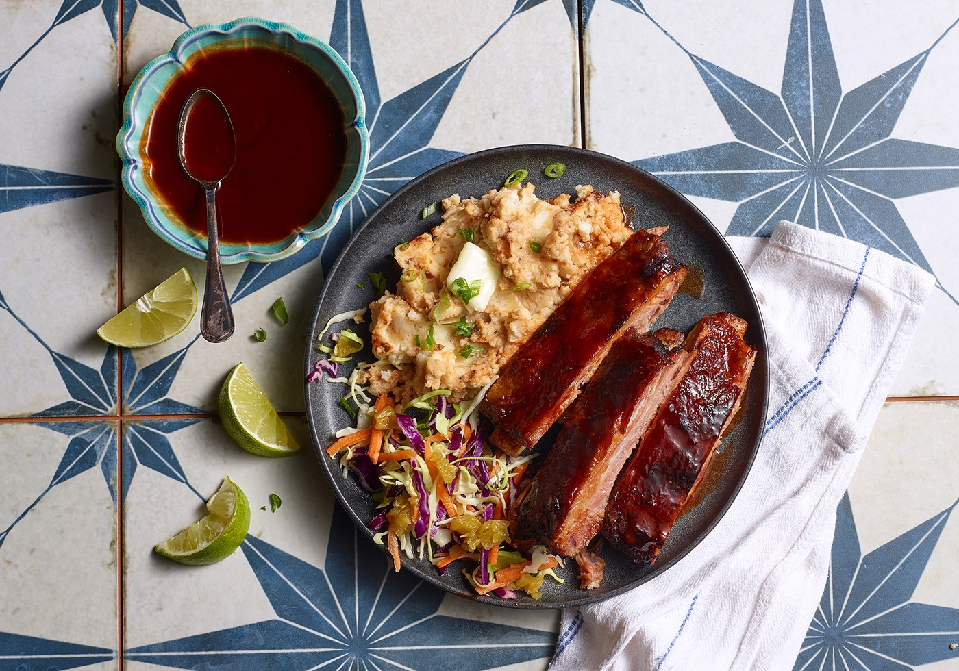Honey Guajillo Glazed Pork Ribs with mashed potatoes on plate overhead